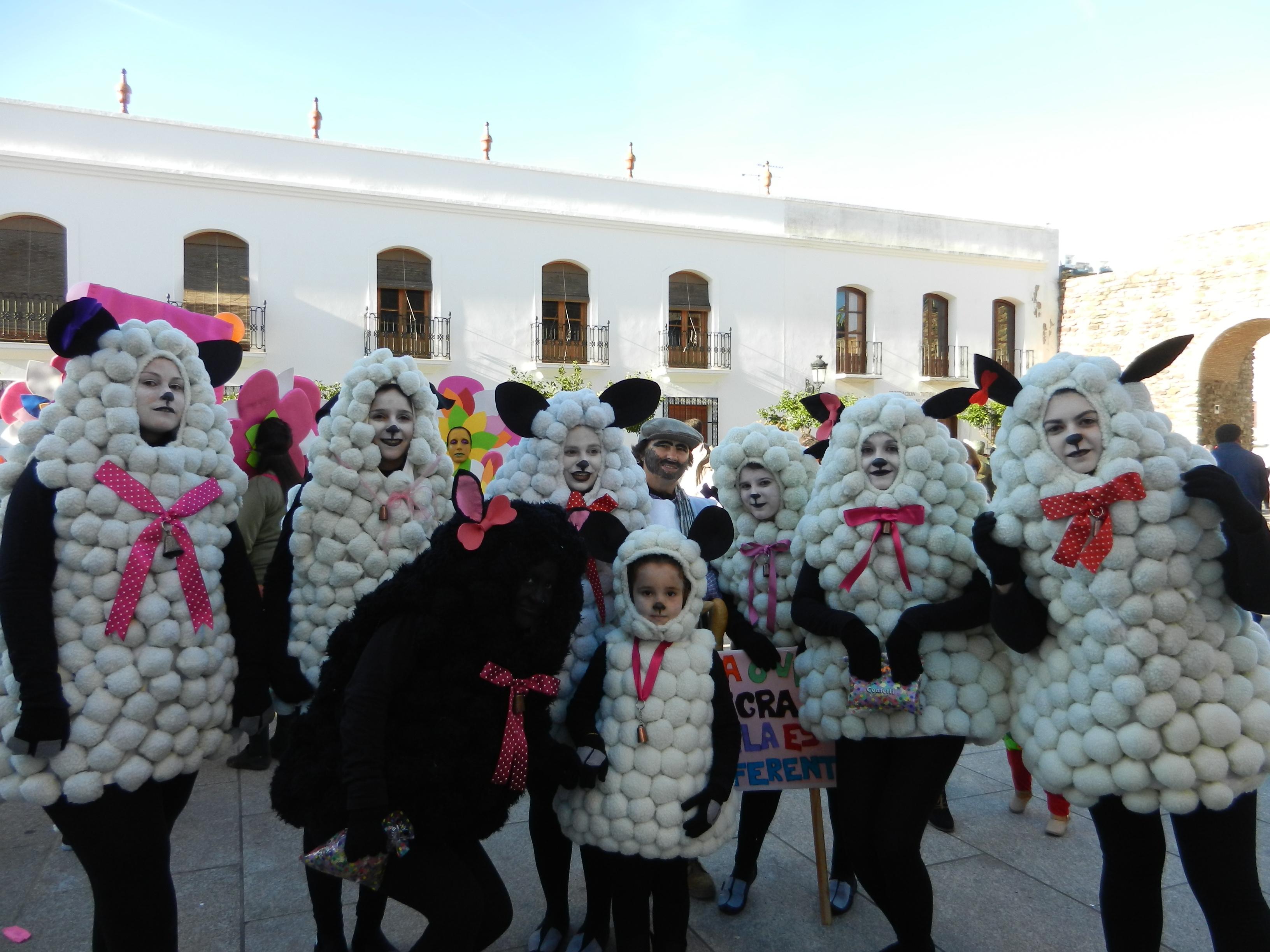 El rebaño de ovejas en el desfile